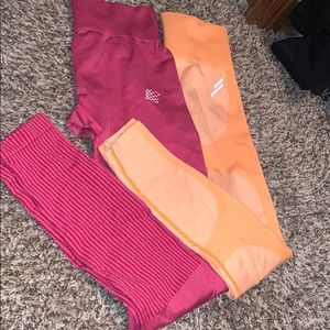 Orange do you even leggings and pink Jed north